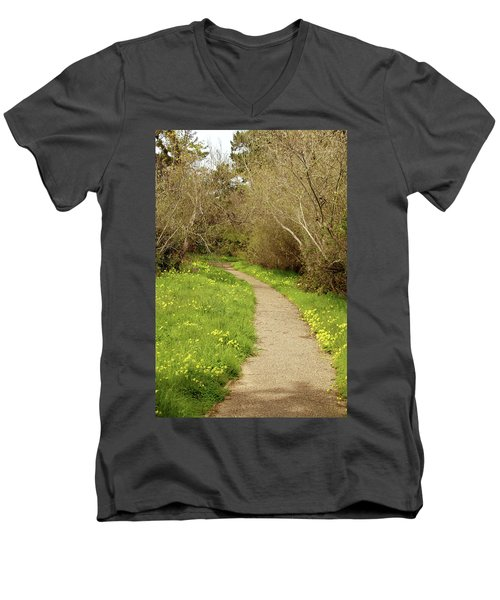 Men's V-Neck T-Shirt featuring the photograph Sour Grass Trail by Art Block Collections