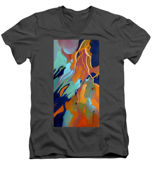 Men's V-Neck T-Shirt featuring the painting Source by Rae Andrews