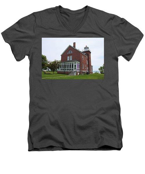 South Bass Island Lighthouse- Horizontal Men's V-Neck T-Shirt by Michiale Schneider