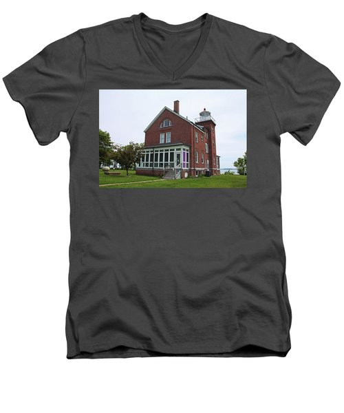South Bass Island Lighthouse- Horizontal Men's V-Neck T-Shirt