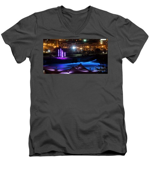 Men's V-Neck T-Shirt featuring the photograph South Bend River Night by Brian Jones
