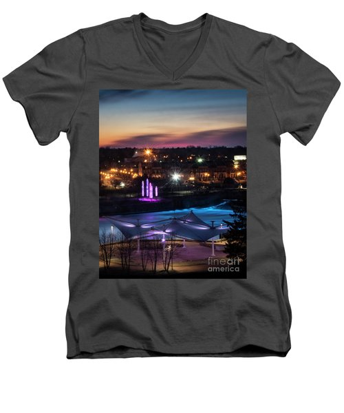 Men's V-Neck T-Shirt featuring the photograph South Bend River Sunrise by Brian Jones