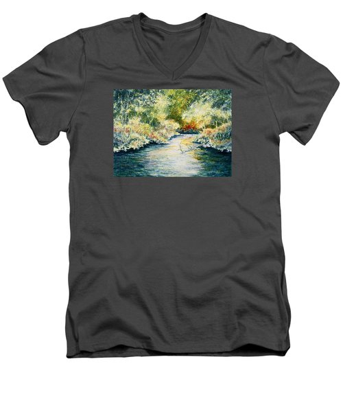 Men's V-Neck T-Shirt featuring the painting South Branch Of The Little Wolf by Carolyn Rosenberger