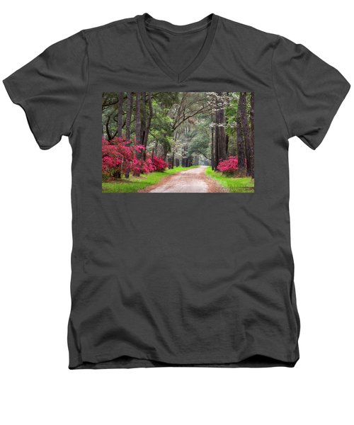 South Carolina Lowcountry Spring Flowers Dirt Road Edisto Island Sc Men's V-Neck T-Shirt