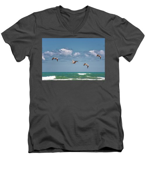 South Padre Island Pelicans Men's V-Neck T-Shirt