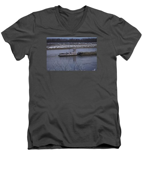 Men's V-Neck T-Shirt featuring the photograph Southbound Barges by Jane Eleanor Nicholas