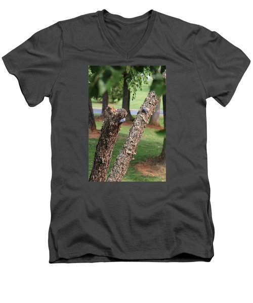 Men's V-Neck T-Shirt featuring the photograph Southern Blue Birds by Debra     Vatalaro