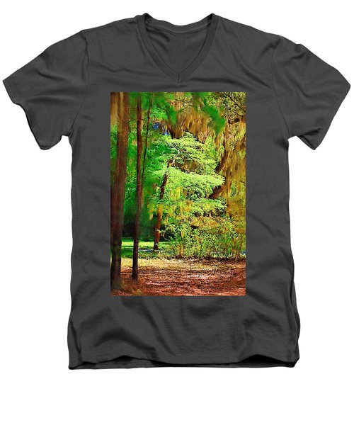 Men's V-Neck T-Shirt featuring the photograph Southern Forest by Donna Bentley
