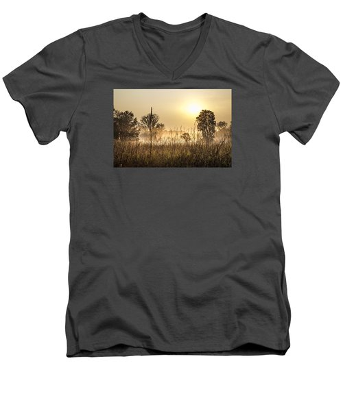 Southern Michigan Foggy Morning  Men's V-Neck T-Shirt by John McGraw