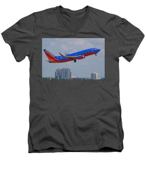 Southwest Airlines Men's V-Neck T-Shirt