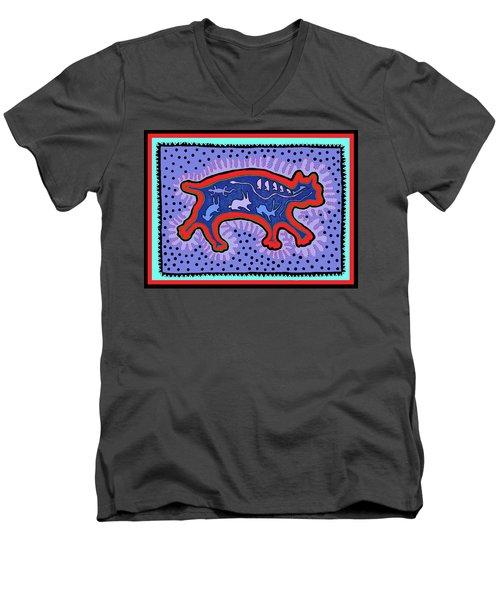 Men's V-Neck T-Shirt featuring the digital art Southwest Desert Feral Cat by Vagabond Folk Art - Virginia Vivier