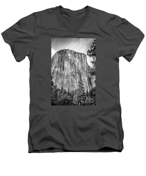 Southwest Face Of El Capitan From Yosemite Valley Men's V-Neck T-Shirt