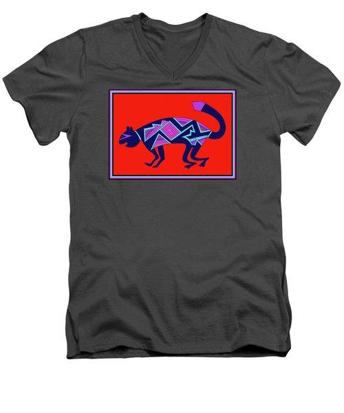 Men's V-Neck T-Shirt featuring the digital art Southwest Mimbres Feline by Vagabond Folk Art - Virginia Vivier