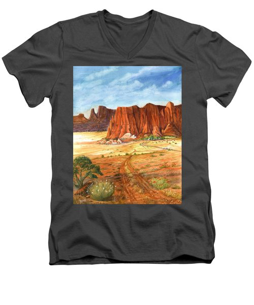 Men's V-Neck T-Shirt featuring the painting Southwest Red Rock Ranch by Marilyn Smith