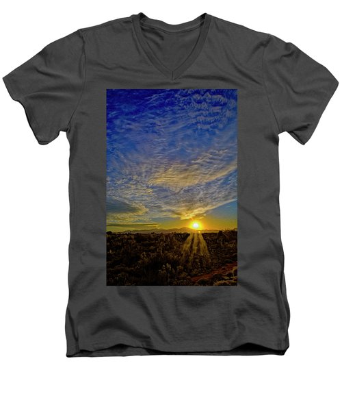 Men's V-Neck T-Shirt featuring the digital art Southwest Sunset Op40 by Mark Myhaver