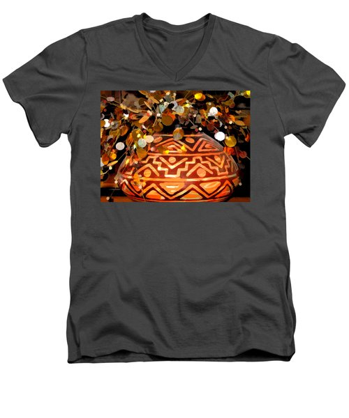 Men's V-Neck T-Shirt featuring the digital art Southwest Vase Art by Gary Baird