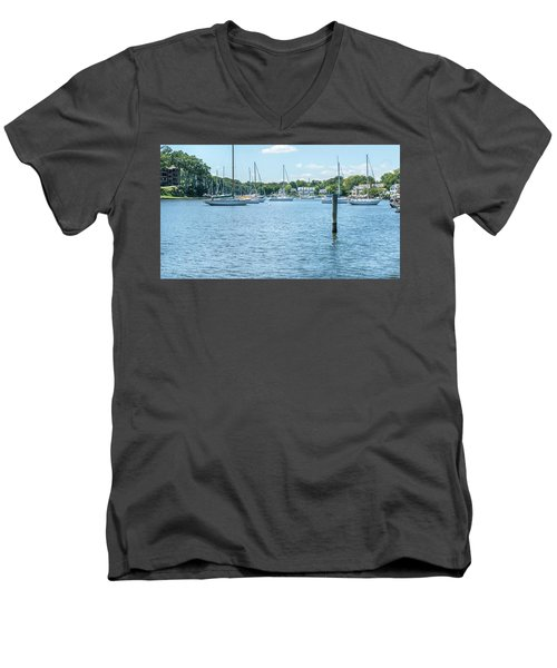 Men's V-Neck T-Shirt featuring the photograph Spa Creek In Blue by Charles Kraus