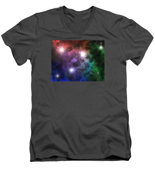 Men's V-Neck T-Shirt featuring the digital art Space Clouds by Phil Perkins