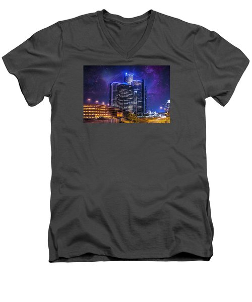 Men's V-Neck T-Shirt featuring the photograph Space Detroit by Nicholas  Grunas