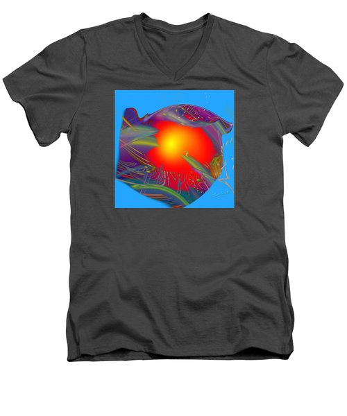Space Fabric Men's V-Neck T-Shirt by Kevin Caudill
