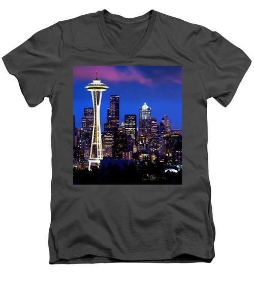 Space Needle At Night  Men's V-Neck T-Shirt