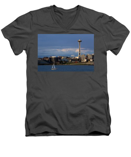 Men's V-Neck T-Shirt featuring the photograph Space Needle by Evgeny Vasenev
