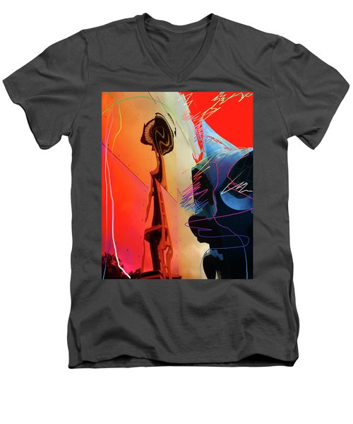 Men's V-Neck T-Shirt featuring the digital art Space Needle Reflection 1 by Walter Fahmy