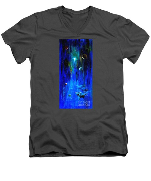 Men's V-Neck T-Shirt featuring the painting Space Shark by Arturas Slapsys