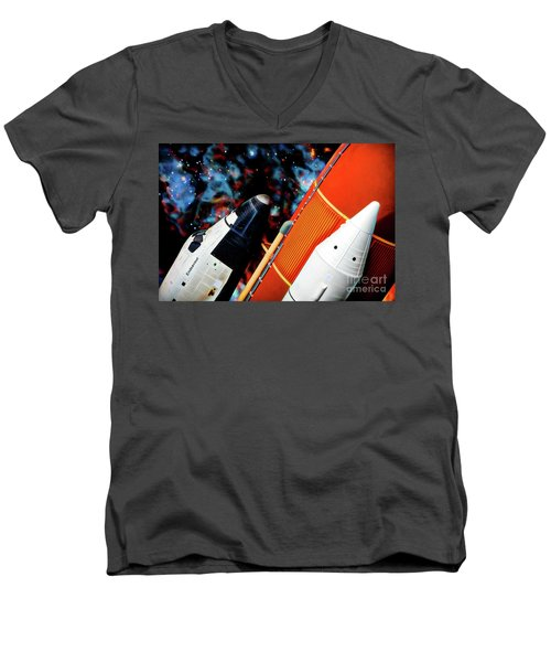Men's V-Neck T-Shirt featuring the digital art Space Shuttle by Ray Shiu