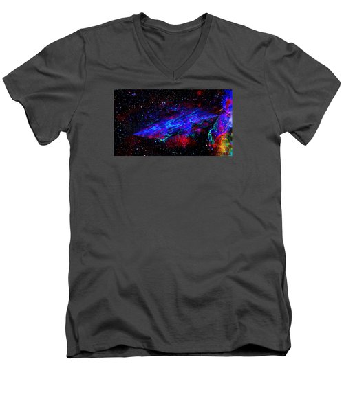 Men's V-Neck T-Shirt featuring the painting Space-time Continuum by Mike Breau