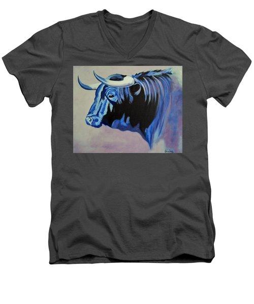 Spanish Bull Men's V-Neck T-Shirt by Manuel Sanchez