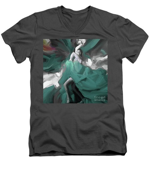 Men's V-Neck T-Shirt featuring the painting Spanish Dance Art 56yt by Gull G