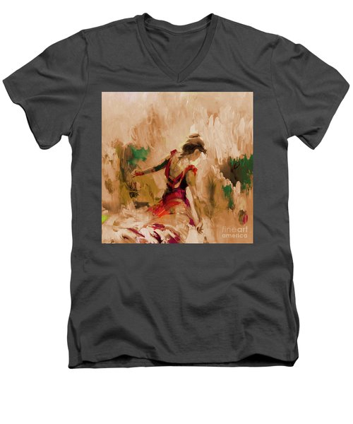 Men's V-Neck T-Shirt featuring the painting Spanish Dance Culture  by Gull G