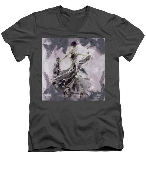 Men's V-Neck T-Shirt featuring the painting Spanish Dance Painting 03 by Gull G