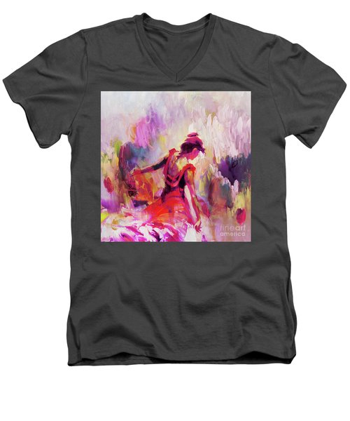 Men's V-Neck T-Shirt featuring the painting Spanish Female Art 0087 by Gull G