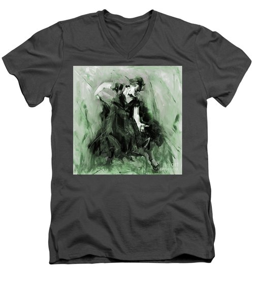Men's V-Neck T-Shirt featuring the painting Spanish Flamenco Dancer by Gull G