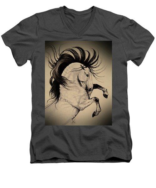 Spanish Horses Men's V-Neck T-Shirt by Cheryl Poland
