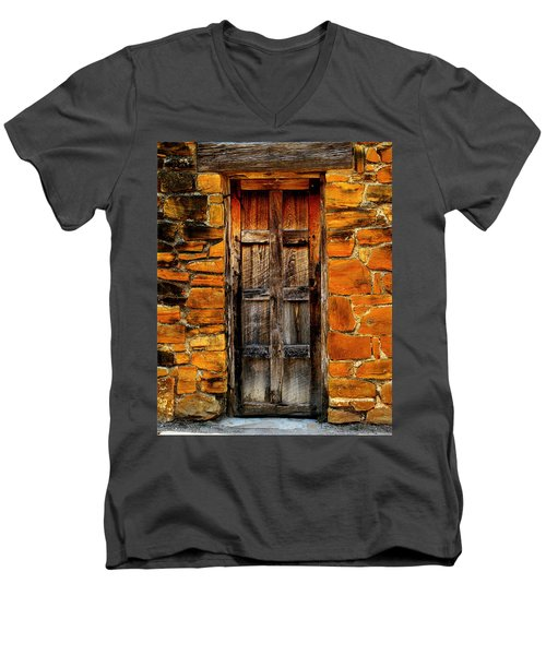 Spanish Mission Door Men's V-Neck T-Shirt by Perry Webster
