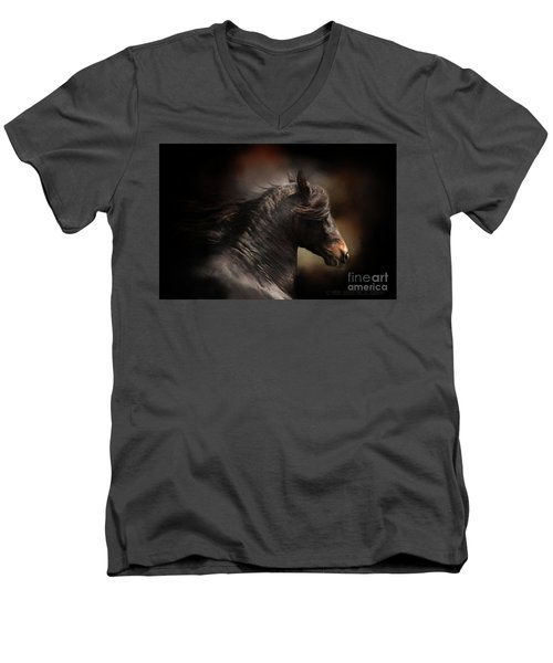 Spanish Stallion Men's V-Neck T-Shirt by Kathy Russell