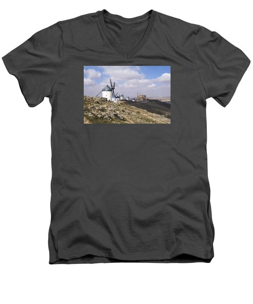 Spanish Windmills And Castle Of Consuegra Men's V-Neck T-Shirt by Perry Van Munster