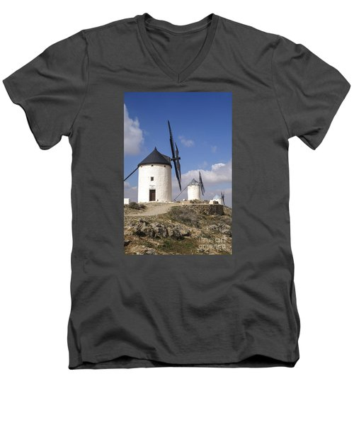Spanish Windmills In The Province Of Toledo, Men's V-Neck T-Shirt by Perry Van Munster