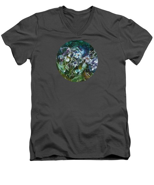 Men's V-Neck T-Shirt featuring the painting Sparkle In The Shade by Mary Wolf