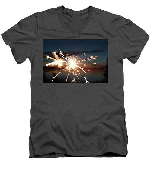 Sparklers After Sunset Men's V-Neck T-Shirt by Kelly Hazel