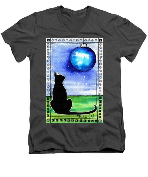 Sparkling Blue Bauble - Christmas Cat Men's V-Neck T-Shirt