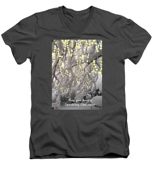 Men's V-Neck T-Shirt featuring the photograph Sparkling Christmas Card by R  Allen Swezey