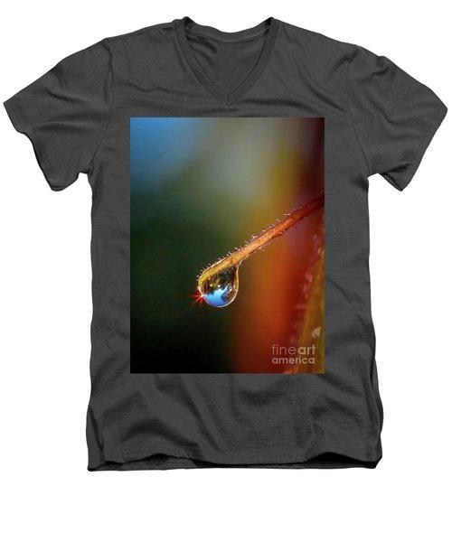 Sparkling Drop Of Dew Men's V-Neck T-Shirt by Tom Claud