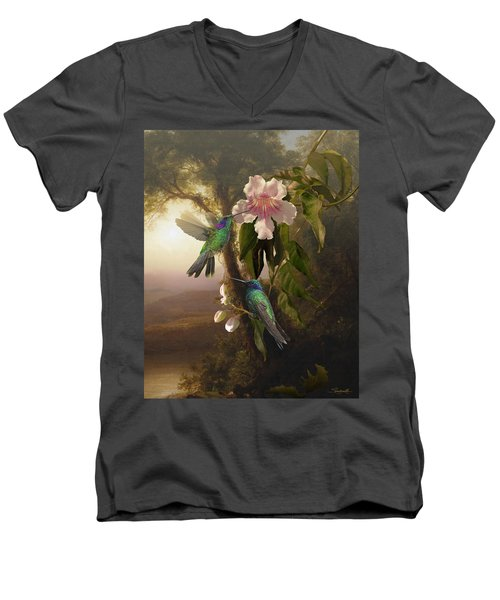 Sparkling Violetear Hummingbirds And Trumpet Flower Men's V-Neck T-Shirt