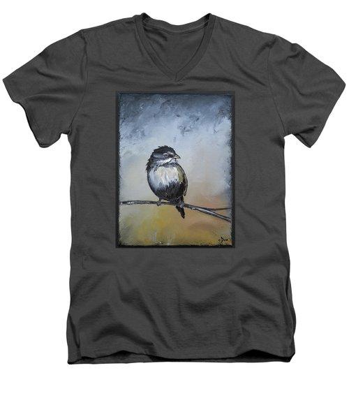 Sparrow Men's V-Neck T-Shirt by Carolyn Doe