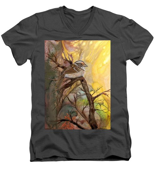 Men's V-Neck T-Shirt featuring the painting Sparrow by Sherry Shipley