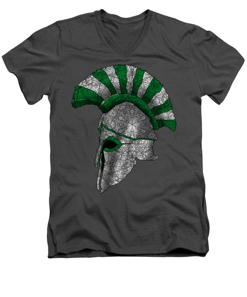 Spartan Helmet Men's V-Neck T-Shirt by Dusty Conley